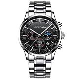 Pzhhzpingg Herren Uhren Mode Wasserdichte Multi Function Chronograph Quarz Uhr für Mann Luxus Business mit Schwarzem Edelstahlgewebe (Sliber)